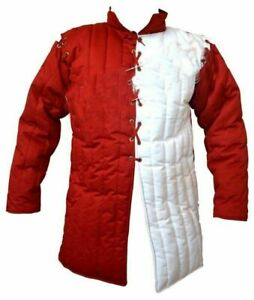 Medieval Reenactment Thick Red white Historical Padded Gambeson New Year Gift