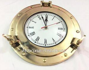 """10"""" Antique Marine Brass Ship Porthole Battery Quartz Nautical Wall Clock Decor"""