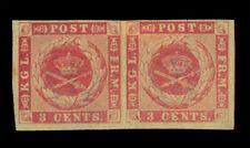 DANISH WEST INDIES 1866  Coat of Arms  3c rose  Scott # 2  mint MH VF+ PAIR