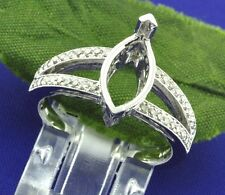 14k Solid White Gold 0.50 ct Ladies Semi Mount Diamond Ring Fits 7x11 Marquise
