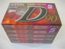 5 x TDK D 90 : Position I normal ; Ungeöffnet in OVP Musik  Kassette