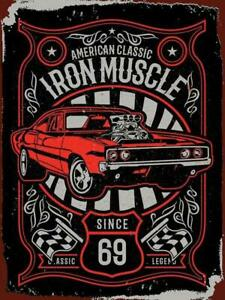 AMERICAN CLASSIC IRON MUSCLE CAR HOT ROD GARAGE VINTAGE METAL SIGN 40x30cm