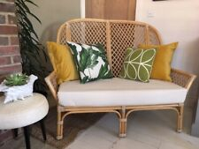 Vintage High Back Bamboo / Rattan / 2 Seater Sofa With New Seat Cushion