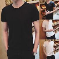 Fashion Men Cotton Solid V Neck Short Sleeve Tops T-Shirt Casual Summer AU