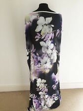 Printed Watercolour Floral Design on Polyester Stretch Jersey  Fabric Offcut