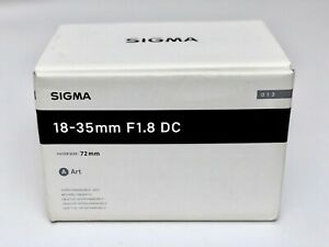 SIGMA 18-35mm f/1.8 DC HSM ART LENS CANON EF Mount - AS NEW in Box + Bag & Hood