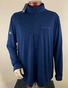 ADIDAS Men's 1/4 Zip Long Sleeve Golf Base Layer Delta Airlines Logo Sz 2XL NWT