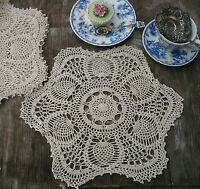 "6pc Hand Crochet Doilies Placemats 15"" RD VTG  Wedding Country Tea Party Natural"