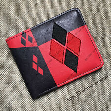 Harley Quinn Logo Red Wallet Purse DC Bifold Handbag Leather Women Girl  Gift