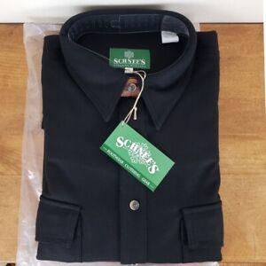 Schnee's Rifleman Black Wool Long Sleeve Button Down Shirt, XL, Bozeman Montana