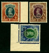 INDIA 1940  PATIALA  King George VI- OFFICIAL  set  Scott # O74-76 mint MNH
