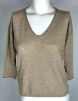 J. CREW Women's Knit Top Sz XS Beige Long Sleeve Linen V-Neck Small Thin Sweater