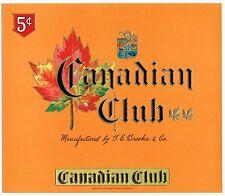 CIGAR BOX LABEL VINTAGE INNER ORIGINAL CANADIAN CLUB EMBOSSED C1930S MAPLE LEAF