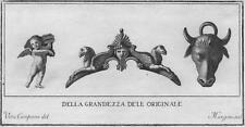 Antichità di Ercolano - Incisione su rame originale 1767 - Toro e Amorino