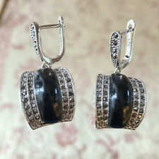SILVER 925 Earrings Black Onix Pave Ematite, Patricia Adelson EXCLUSIVE DESIGN.