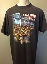 Vtg 90s 3D Label Thin Soft Black T-shirt Wolves Truckers Only Eagle Harley Mens