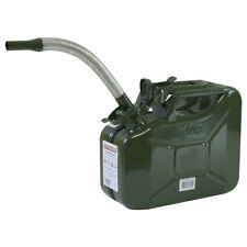 Stahlblechkanister OLIV 10 L + BENZIN-Auslaufrohr Metallkanister Benzinkanister
