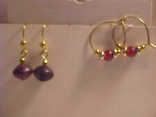 Red Glass Bead Earrings SET of 2 Silver and Gold Beaded Pierced Earrings