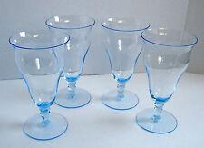 Vintage ? Set Light Blue Parfait or Drink Stemmed Glasses (Four) 12 Oz.