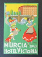 Ancienne étiquette HOTEL VICTORIA Murcia Murcie Flamenco label