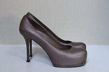 sz 9 / 39  YSL Yves Saint Laurent Tribute Brown Leather Platform Pump Shoes