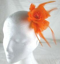 orange fascinator millinery feather brooch clip wedding bridal hair piece ascot