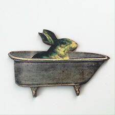Bunny in bathtub brooch Laser cut wood rabbit badge Wooden animal lapel pin
