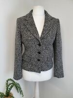 M&S Per Una Black & White Tweed Style Tailored Jacket Size 12