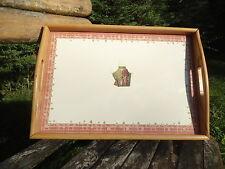 PLATEAU PETIT DEJEUNER BOIS MASSIF + EMAIL  45 X 32 cm NEUF HAUT DE GAMME JARDIN