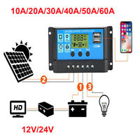 10/20A 30A 60A Dual USB Solar Panel Battery Regulator Charge Controller 12V 24V