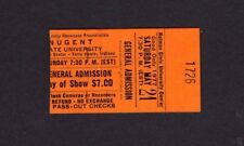 1977 Ted Nugent Nazareth concert ticket stub Terre Haute IN Cat Scratch Fever