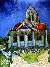 Van Gogh Church at Auvers Repro, Quality Hand Painted Oil Painting, 30x40in