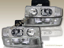 1995-2005 CHEVY ASTRO VAN CRYSTAL CLEAR HEADLIGHTS + BUMPER  SIGNAL LIGHTS 4PCS