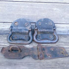 Vintage Pair Heavy Duty Cast Iron Trunk Foot Locker Handles, Hasp & Staple Latch