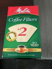 Melitta 612412 #2 Natural Brown Cone Coffee Filters 40 Count Flavor Enhancing