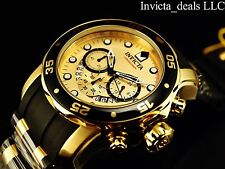 Invicta Men's 48mm Scuba Pro Diver Chronograph Gold Dial 18K Gold Plated Watch