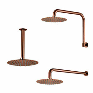 1x Shower Head/Arm Quality Stainless Steel Rose Gold Round for Bathroom