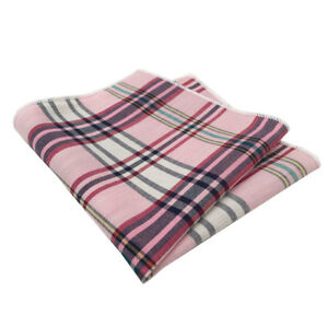 Pink, Navy Blue, Yellow and Blue Plaid Pocket Square