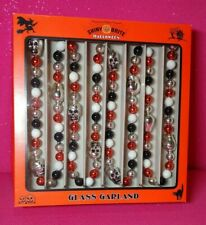 Radko Shiny Brite Halloween Garland Ornament Silver Skulls Black White Orange