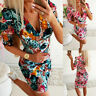Women Short Puff Sleeve Floral V Neck Bodycon Dress Slim Evening Cocktail Party