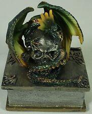 DRAGON & SKULL TRINKET BOX Polyresin Jewelry Case NEW Fantasy Serpent Horror