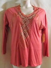 ONE WORLD~Peachy Coral~3/4 Sleeve~Embellished~Lace Inlay~Tunic Top~Medium~NWT