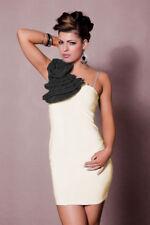 vestito monospalla tubino abito da cocktail con fiore ecrù J11