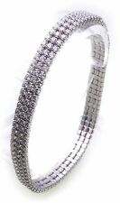 Women's Wrist Band genuine Silver 925 Zirconia 3 rows 6,5 mm wide Sterling New