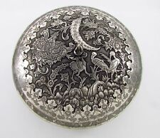 Large Antique 20th C Solid 84 Persian Silver Round Sweet 1391 Grams bird & crane