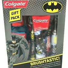 NEW Batman Brushtastic Colgate Kids 4 Piece Dental Toothbrush and Oral Care Set