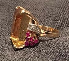 Vintage 14K Yellow Gold, 57 CT Yellow Citron 1CT Ruby 1/2 CT Diamonds 1940 Eras