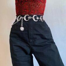 Womens Crescent Moon Belt Silver Sun Metal Goth Punk Witch Waist Chain Belt