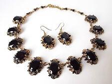 Black Golden Renaissance Festival Costume Jewelry Rhinestone Prom Necklace Set