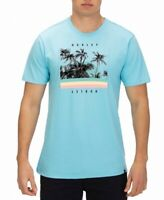 Hurley Mens T-Shirt Blue Size Small S Crewneck Palm-Trees Graphic Tee 449